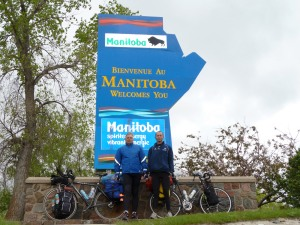 Pavel and Martin at Manitoba border